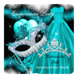 Masquerade Quinceanera Birthday Party Teal 2 Card