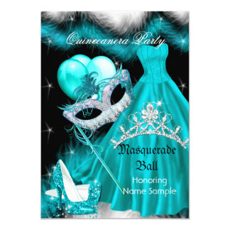 Masquerade Quinceanera Birthday Party Teal 3a Card
