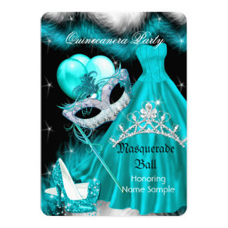 Masquerade Quinceanera Birthday Party Teal 3a 5x7 Paper Invitation Card