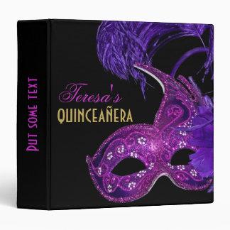 Masquerade quinceañera birthday pink, purple mask binder