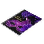 Masquerade quinceañera birthday pink, purple mask spiral notebook