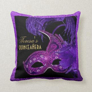 Masquerade quinceañera birthday pink, purple mask throw pillow