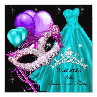 Masquerade Quinceanera Birthday Teal Purple 5.25x5.25 Square Paper Invitation Card