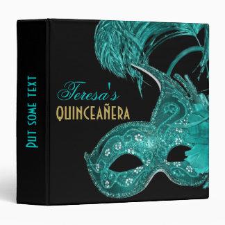 Masquerade quinceañera birthday turquoise mask 3 ring binder