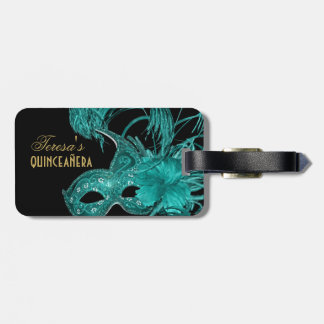Masquerade quinceañera birthday turquoise mask bag tag