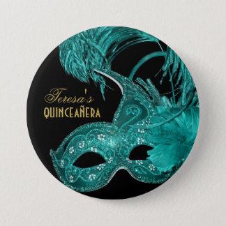 Masquerade quinceañera birthday turquoise mask button