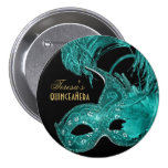 Masquerade quinceañera birthday turquoise mask button