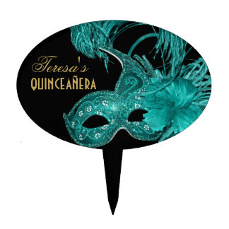 Masquerade quinceañera birthday turquoise mask cake topper