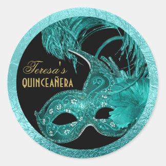 Masquerade quinceañera birthday turquoise mask classic round sticker