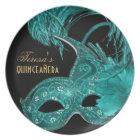 Masquerade quinceañera birthday turquoise mask melamine plate