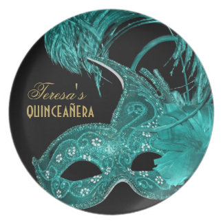Masquerade quinceañera birthday turquoise mask dinner plate
