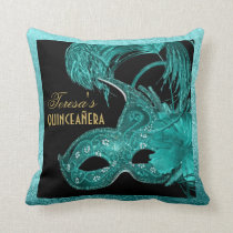 Masquerade quinceañera birthday turquoise mask throw pillow