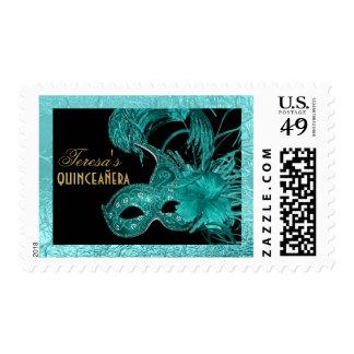 Masquerade quinceañera fifteenth birthday aqua stamp