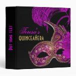 Masquerade quinceañera fifteenth birthday purple 3 ring binders