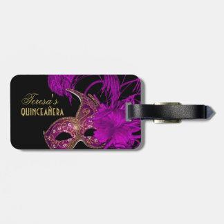 Masquerade quinceañera fifteenth birthday purple bag tag