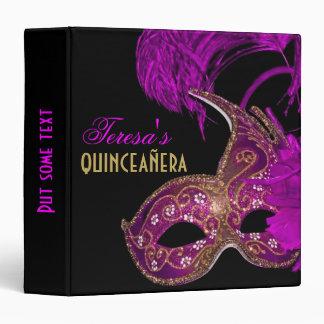 Masquerade quinceañera fifteenth birthday purple binder