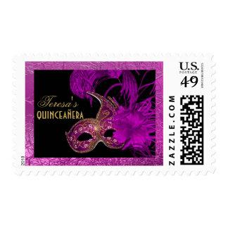 Masquerade quinceañera fifteenth birthday purple postage stamp
