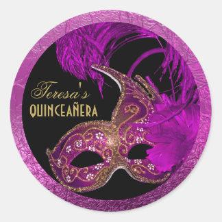 Masquerade quinceañera fifteenth birthday purple stickers