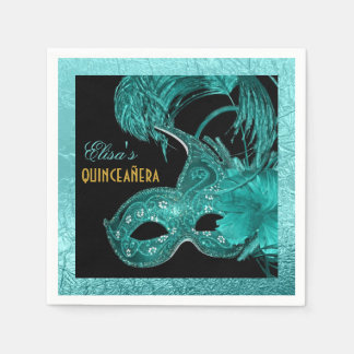 Masquerade Quinceañera party aqua blue mask Disposable Napkins