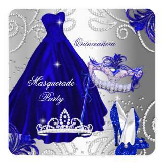 Masquerade Quinceanera Party Blue Silver Dress Card