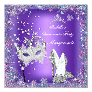 Masquerade Quinceanera Party Mask Purple Tiara Card