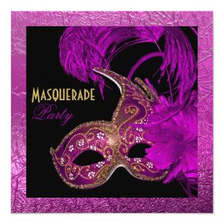 Masquerade quinceañera party purple gold foil card