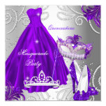 Masquerade Quinceanera Party Purple Silver Dress Card