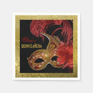 Masquerade Quinceañera party red, faux gold foil Disposable Napkins