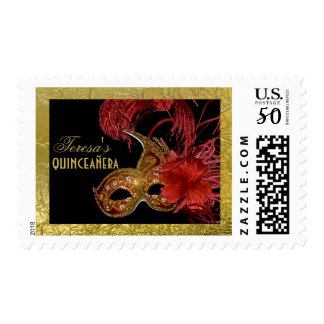 Masquerade Quinceañera party red, faux gold foil Postage
