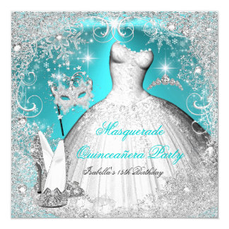 Masquerade Quinceanera Party Teal White Snowflake Invitation
