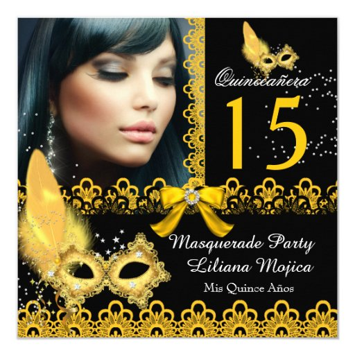 Masquerade Quinceanera Party Yellow Gold Lace Card