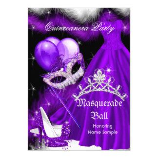 Masquerade Quinceanera Purple Black Feather 2a 5x7 Paper Invitation Card