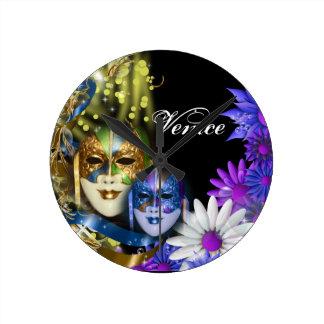 Masquerade quinceanera Venetian masks Round Wallclock