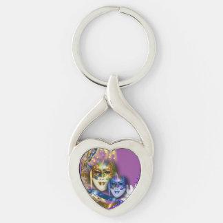 Masquerade quinceanera Venetian masks (heart) Key Chain