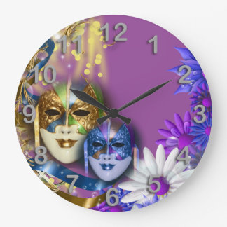 Masquerade quinceanera Venetian masks PERSONALIZE Clocks