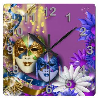 Masquerade quinceanera Venetian masks PERSONALIZE Square Wallclock