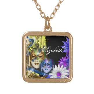 Masquerade quinceanera Venetian masks PERSONALIZE Gold Plated Necklace