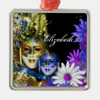 Masquerade quinceanera Venetian masks PERSONALIZE Metal Ornament