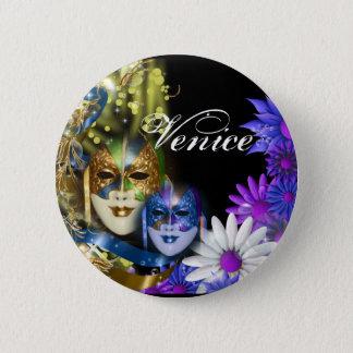 Masquerade quinceanera Venetian masks Pinback Button