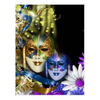 Masquerade quinceanera Venetian masks Postcard