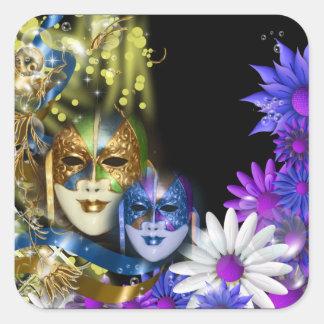 Masquerade quinceanera Venetian masks Square Sticker