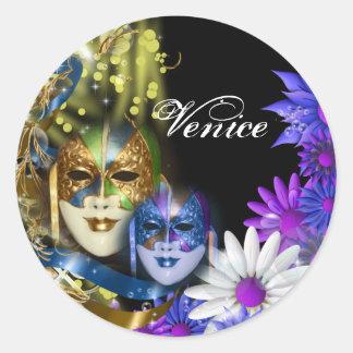 Masquerade quinceanera Venetian masks Classic Round Sticker