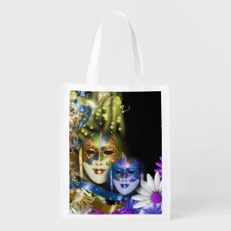 Masquerade quinceanera Venetian masks Reusable Grocery Bag