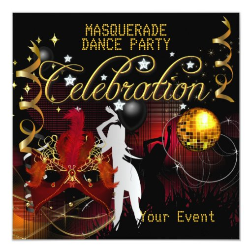 "MASQUERADE Red Gold Dance Party Disco Ball 5.25"" Square Invitation Card"