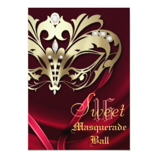 Masquerade Red Jeweled Sweet 16 Invitation