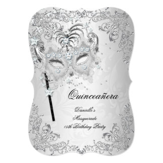 Masquerade Silver Quinceanera 15th Birthday Card