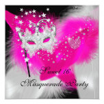 Masquerade Sweet 16 Hot Pink Black Feather Mask Personalized Announcements
