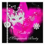 Masquerade Sweet 16 Hot Pink Black Feather Mask Custom Invites