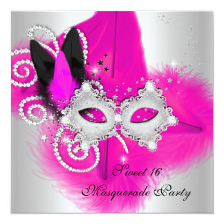 """Masquerade Sweet 16 Hot Pink Black Feather Mask 5.25"""" Square Invitation Card"""