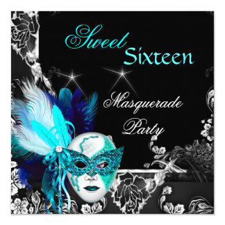 Masquerade Sweet 16 Mask Teal Blue Black Party Card